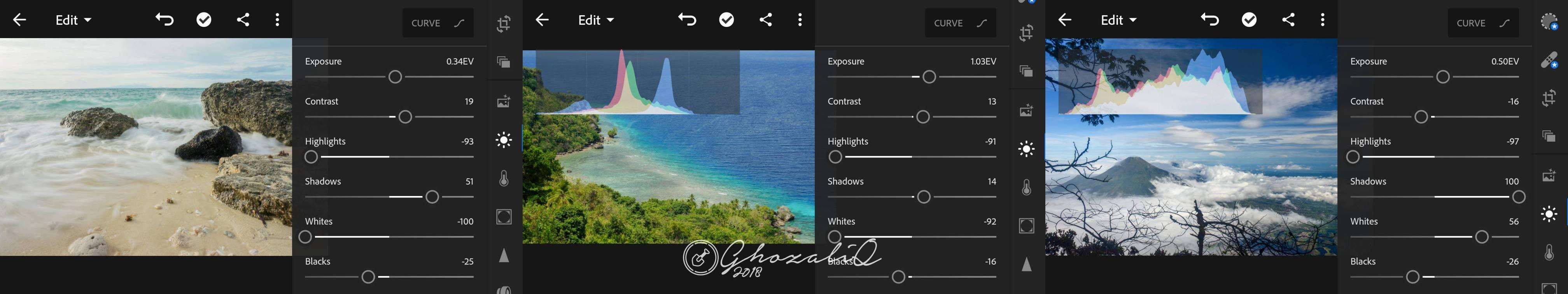 Edit foto landscape di lightroom android