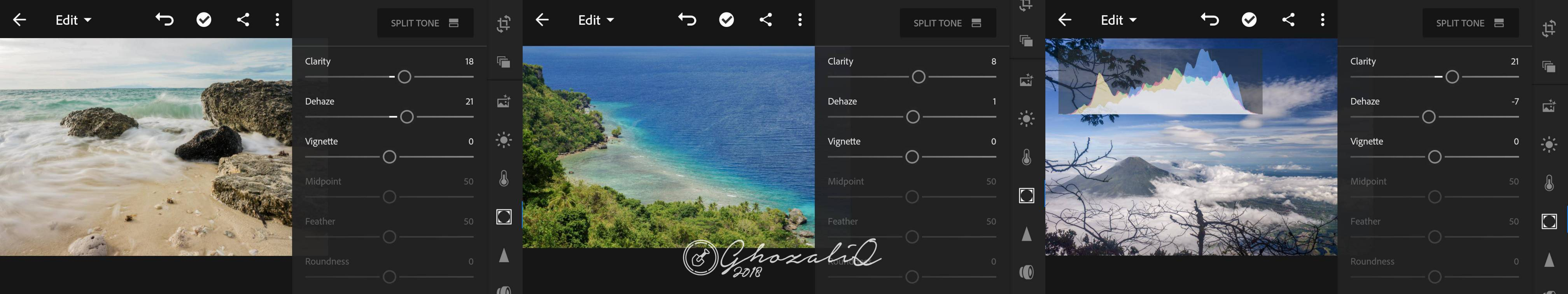 Edit foto landscape di lightroom android